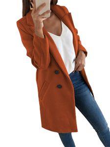 Damenanzug mittellange Wollmanteljacke,Farbe: Karamellfarbe,Größe:L