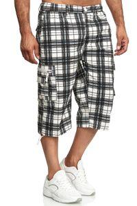 Herren Bermuda Shorts 3/4 Kurze Cargo Hose Kariert Regular Fit Sommer , Farben:Dunkelblau, Größe Shorts:L