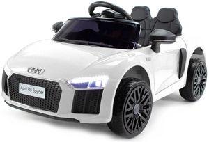 Audi R8 Spyder Kinder Auto Kinder Elektroauto Akku Kinderfahrzeug 12V (2 Sitzer), Farbe:weiß