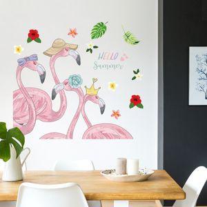 Flamingo Deko Aufkleber Wandsticker Wandaufkleber für Kinderzimmer Mädchenzimmer