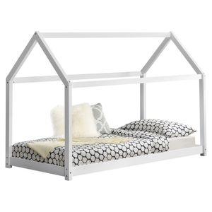 [en.casa] Kinderbett 90x200cm Haus Holz Natur Bettenhaus Hausbett Kinderzimmer Bett Kinder Kiefernholz Weiß
