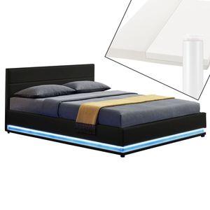 Juskys Polsterbett Toulouse 140x200 cm – Bett mit Matratze, Lattenrost, Kopfteil, LED & Stauraum – Modernes Bettgestell - Bezug Kunstleder schwarz