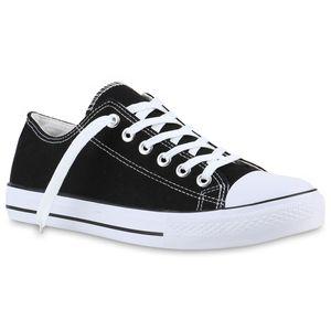Mytrendshoe Herren Sneakers Stoffschuhe Schnürer Sportschuhe Low Sneaker 816742, Farbe: Schwarz, Größe: 43