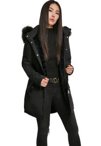 Urban Classics TB3053  Ladies Faux Fur Parka, Größe:S, Farbe:Black