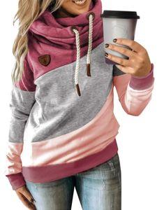 Frauen Plain Splicing Hoodie Sweatshirt Langarm Kapuze Bluse Pullover Tops,Farbe: Rot,Größe:M