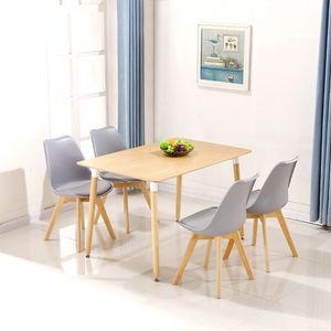 √ Esstisch mit 4 Stühlen Grau Esszimmer Essgruppe 110x60x75cm für Esszimmer Essgruppe(Holzfarbe)