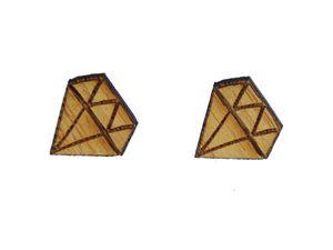 Diamanten Ohrstecker Miniblings Ohrringe Diamanten Schliff Holz braun Hip Hop