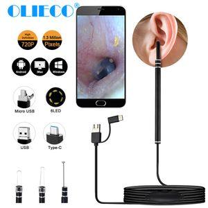 Endoskopischer Löffel Ohrreiniger, Ohrenreiniger mit Mini Kamera, Entfernung von Ohrenschmalz, mit Ohr Otoskop, Mund und Nase, kompatibel mit Android PC