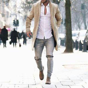 Herren Wollmantel Warme Winter Trench Long Outwear Button Smart Overcoat Mäntel Größe:S,Farbe:Ocker
