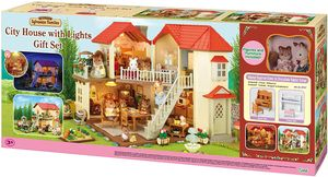 Epoch 2747 - Sylvanian Families - Geschenk-Set - Stadthaus mit Licht, Luna & Sissi Figuren