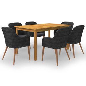 Gartenmöbel Essgruppe 6 Personen ,7-TLG. Terrassenmöbel Balkonset Sitzgruppe: Tisch mit 6 Stühle, Schwarz❀8614