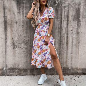Damen Boho Floral V-Ausschnitt Midikleid Damen Holiday Beach Side Slit Sommerkleid,Farbe: Weiß,Größe:XXL