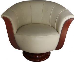 Casa Padrino Art Deco Sessel Creme / Mahagoni - Lounge Möbel