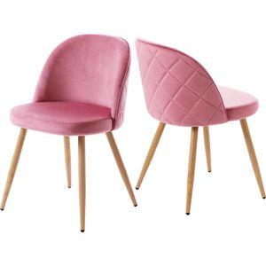 2er Set Stuhl Esszimmerstuhl Möbel Samt Küchentühle Wohnzimmerstuhl Essensstuhl Brüo rosa pink