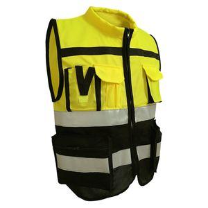 Reflektierende Sicherheitswestenjacke Mit Streifen Für Den Verkehr L 170 Gelb Schwarz Größe L 170 Stil Gelb Schwarz