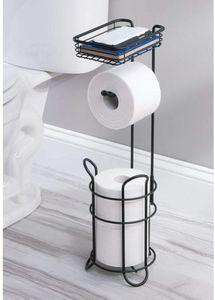 Toilettenpapierhalter mit Regal freistehender Papierrollenhalter Rollenhalter für WC-Rollen Ersatzrollenhalter Schwarz