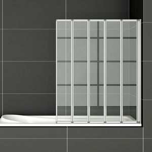 120x140cm Badewanneaufsatz 5-ftg. Falttür Duschwand Trennwand Duschabtrennung 120cm FF