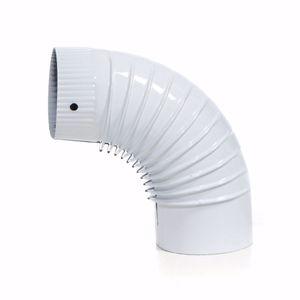 acerto® - Ofenrohr Bogen emaille 120mm - 90° weiss - Emailliertes Rauchrohr für Kaminöfen