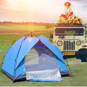 Campingzelt Zelt  Pop Up Kuppelzelt Outdoor, für 3-4 Personen, Blau