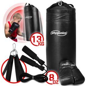 Physionics® Kinder Boxsack-Kit - Ø30cm, H70cm, 13kg, Gefüllt, mit 8 oz Boxhandschuhen und Springseil, für Kinder, Karabinerhaken - Sandsack, Kickboxen, MMA, Kampfsport, Muay Thai, Punching Bag