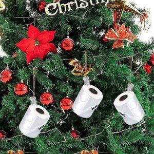3 Stück Toilettenpapier Ornament Weihnachtsbaum Ornament 3D Rolle Papier Anhänger
