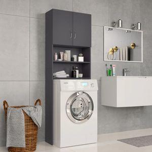64×25,5×190 cm Spanplatte Waschmaschinenschrank, Grau