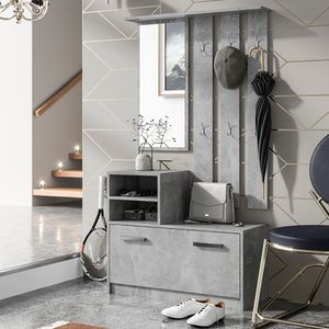 Selsey Flurgarderobe YESFIR - Garderoben-Set in Betonoptik - Schuhschrank, Wandpaneel, Spiegel - 85 cm breit