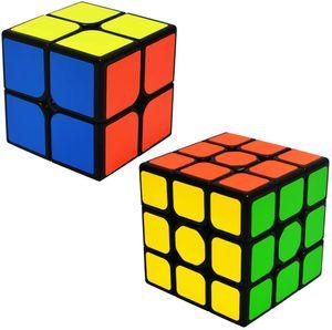 Zauberwürfel Speed Cube Set 2x2x2 + 3x3x3 Magic Puzzle Cubes 2 Pack Zauber Würfel PVC Aufkleber für Kinder und Erwachsene