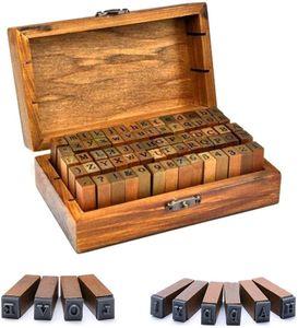 Vegena Alphabet Stempel Set, 70 Stücke Vintage Holz Alphabet Buchstaben Briefmarken mit Aufbewahrungs Box, Holz Stempelset Alphabet Buchstaben Zahlen Set für Kartenherstellung, DIY Handwerk
