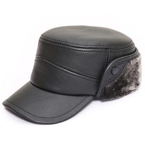Herren Leder Fliegermützen Mit Ohrenschutz Winter Schirmmütze Baseballmütze Mützen Warm Kappe Farbe Schwarz Größe XL
