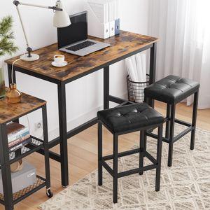 VASAGLE Barhocker, 2er Set, Barstühle, 40 x 30 x 62 cm, rückenfrei, PolyurethanBezug, einfache Montage, schwarze Sitzfläche und schwarzes Gestell LBC068B81