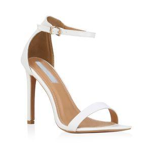 Mytrendshoe Damen Sandaletten Riemchensandaletten High Heels Sommer Schuhe 821192, Farbe: Weiß, Größe: 39