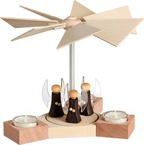 Moderne erzgebirgische Pyramide aus Holz Hexagonum Höhe 20 cm, Modell:mit Engel
