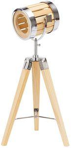 BRUBAKER Stehleuchte Industrial Design Tripod Lampe - 65 cm Höhe - Stativbeine aus Holz - Scheinwerfer Chromfarben/Messing