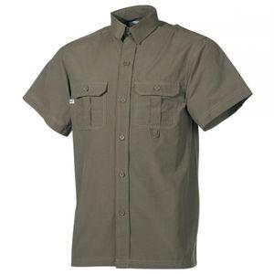 Outdoor Hemd, kurzarm, oliv, Microfaser, 2 Brusttaschen - XXL