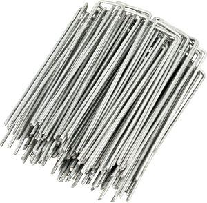 HelpAccess® 150Stück Anti-ROST Erdanker für Unkrautvlies, Erdnägel aus verzinktem Stahl (150mm x 30mm x 3,00mm)