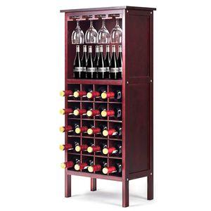 GOPLUS Weinregal Flaschenregal Glaeserregal Weinschrank Weinstaender Weinhalter Weinflaschenhalter mit 2 Ablagen