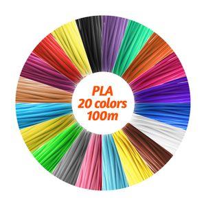 3D Stift Filament 20 Farben je 5m, 3D Stift Nachfüller, 3D Pen PLA Filament 1,75mm, 3D Stift Farben Set für Kinder
