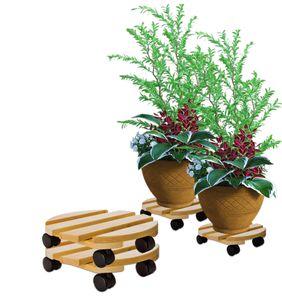 2x Pflanzenroller rund Buchenholz massives Holz 30 cm bis 120 Kg Rolluntersetzer