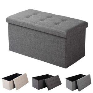 WOLTU Sitzhocker Sitzbank mit Stauraum Deckel abnehmbar dunkelgrau