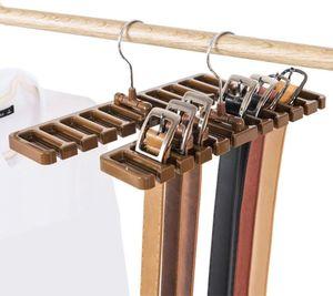 Gürtelhalter, 10 Schlitze, für Krawatte, Gürtel, Schal und Halstuch aus stabilem Kunststoff für Kleiderschrank, platzsparend, Gürtelbügel mit Metallhaken - braun