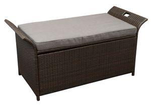 DEGAMO Kissenbox Gartenbox Auflagenbox TRENTO mit Sitzfläche, 124cm, Metallgestell, Polyrattan braun, Polster dunkelgrau