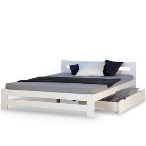 Homestyle4u 1962, Doppelbett Holzbett 140x200 Weiß Kiefer Bett Mit Bettkasten Bettgestell Holz