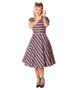 SugarShock Ninive Cupcake Macarons 50er repro Petticoat Kleid, Größe:M, Farbe:Schwarz