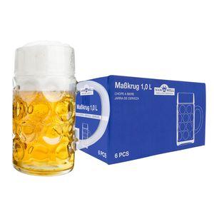 6er Set Maßkrug 1 Liter geeicht Bierkrug mit Henkel Bierglas perfekt geeignet für Gastronomie