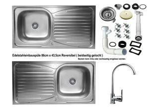 Edelstahl Einbauspüle 86x43,5cm Küchenspüle Spüle reversible + Küchenarmatur Delta