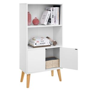 VASAGLE Bücherregal mit 2 Ablagen und Türen aus Holz 120 x 60 x 30 cm Bücherschrank Holzoptik weiß LBC09WT