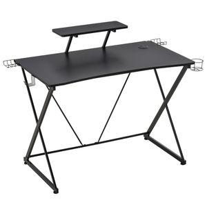 HOMCOM Gaming-Tisch Schreibtisch Computertisch PC Schreibtisch mit Kopfhörerhaken Getränkehalterung Ergonomisches Design Verstellbare Füße MDF Stahl Schwarz 106 x 60 x 93,5 cm