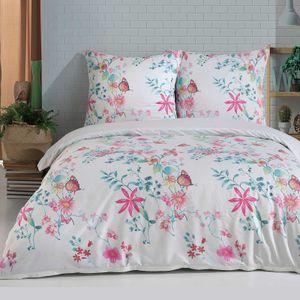 Bettwäsche Bettbezug 200x200 cm, Kopfkissenbezug 80x80 cm  3 teilig Bettgarnitur Bettwäsche - Set  Baumwolle Renforcé mit Reißverschluss
