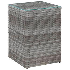 Beistelltisch Sideboard Konsole mit Glasplatte Grau 35 x 35 x 52 cm Poly Rattan